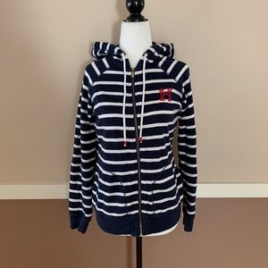 Tommy Hilfiger Blue & White Stripe Hoodie Small